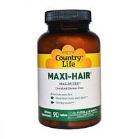 Комплекс для Роста и Укрепления Волос, Maxi-Hair, Country Life, 90 таблеток