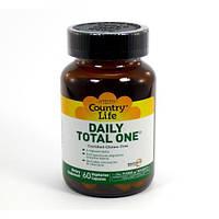 Мультивитамины для Взрослых с Железом, Daily Total One, Country Life, 60 желатиновых капсул