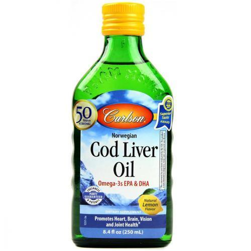 Жир Печени Дикой Норвежской Трески, Вкус Лимона, Cod Liver Oil, Carlson Labs, 250 мл