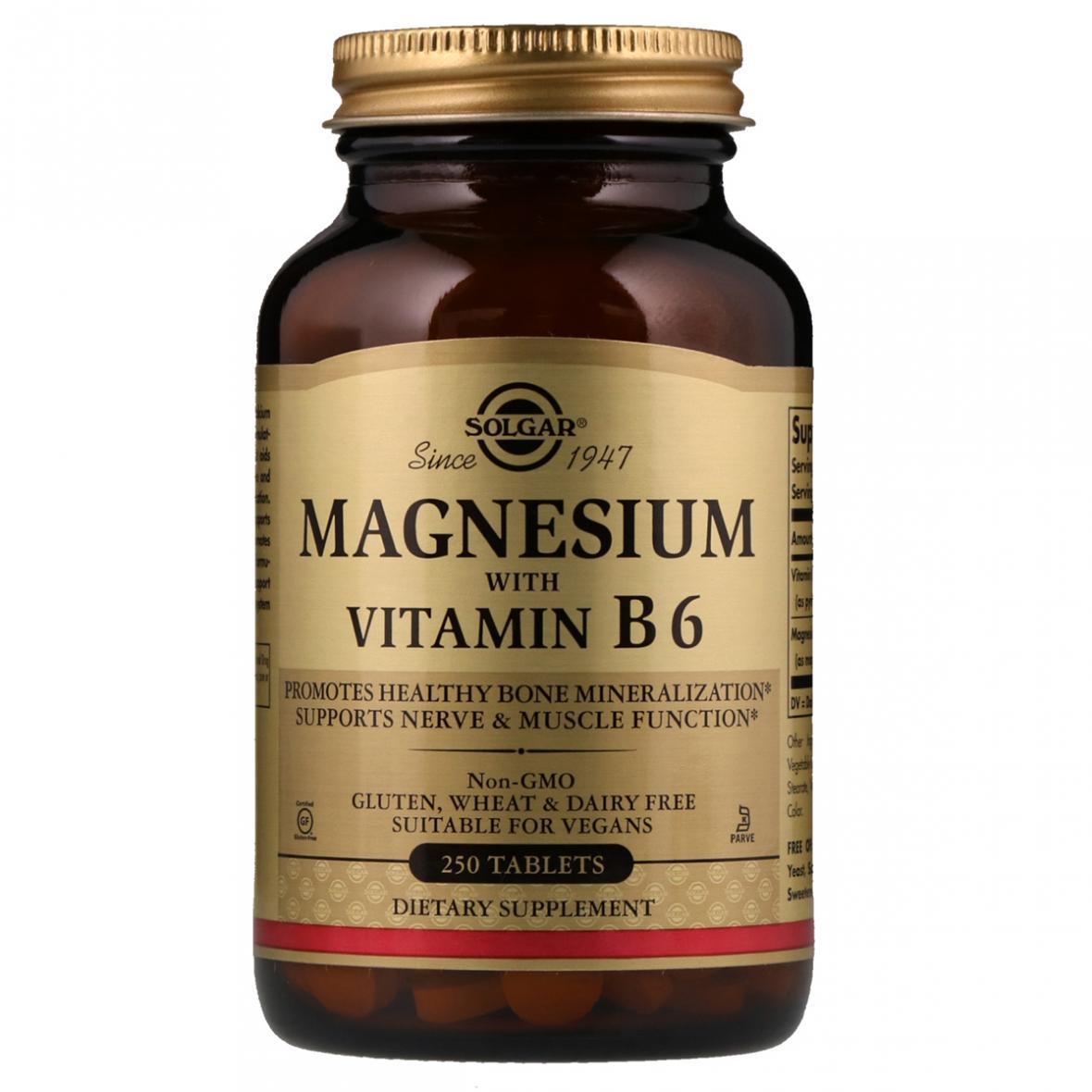 Магній і Вітамін В-6, Solgar, 250 таблеток