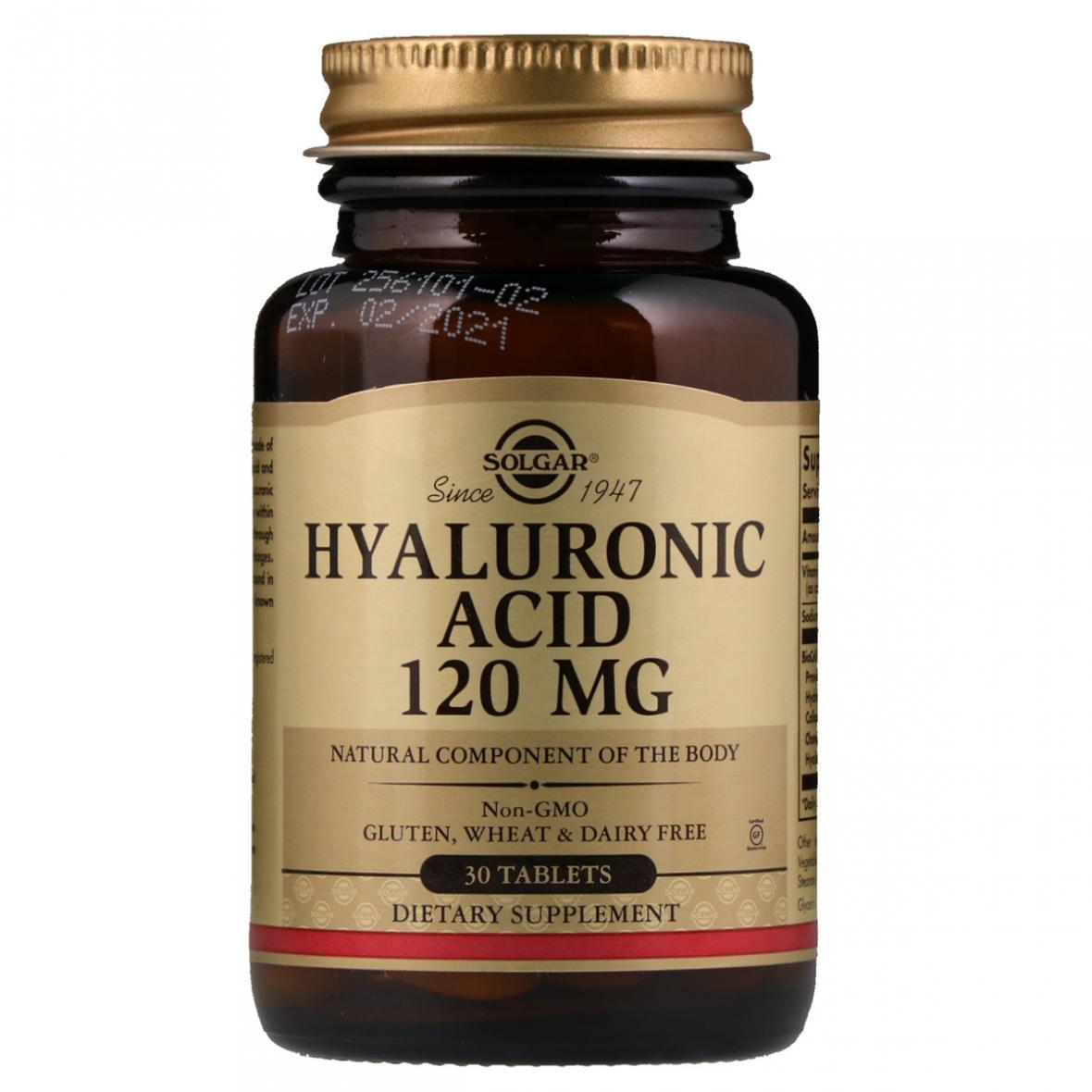 Гіалуронова Кислота, 120 мг, Solgar, 30 таблеток