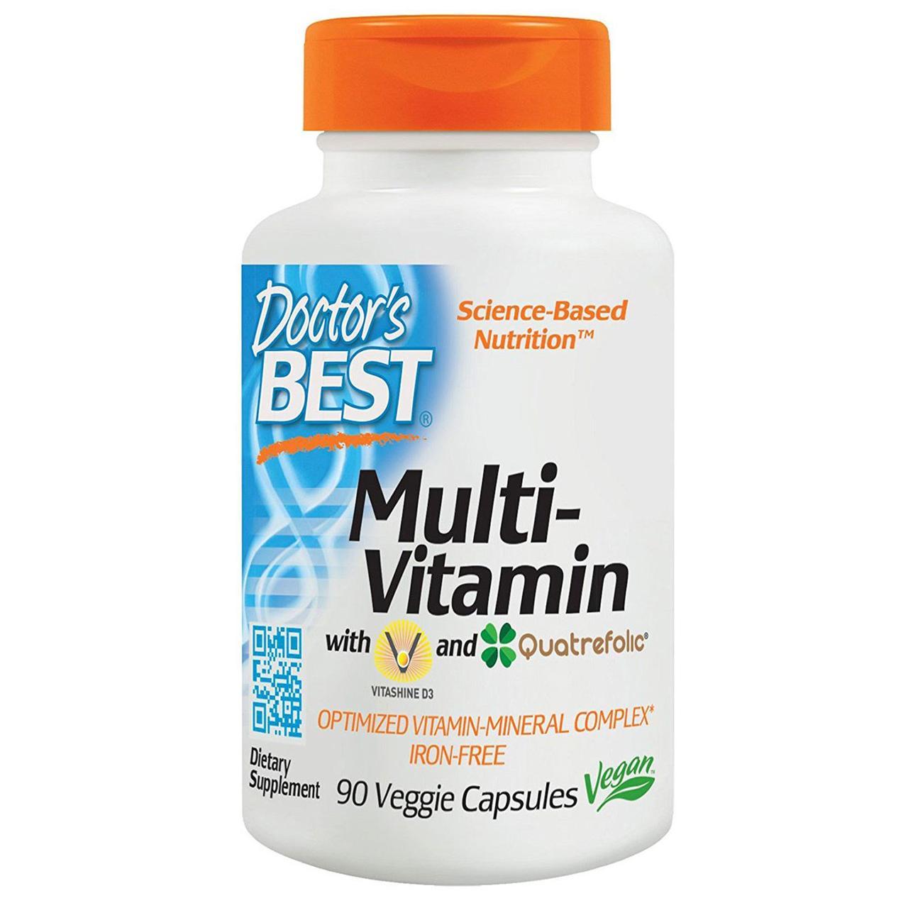 Мультивітаміни без Заліза, Quatrefolic, Doctor's s Best, 90 гельових капсул