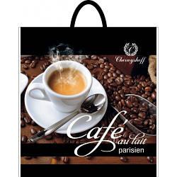 Полиэтиленовый пакет с пластиковой ручкой (сумка) ''Момент кофе'' 400*420, 10 шт