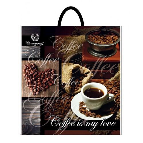 Полиэтиленовый пакет с пластиковой ручкой (сумка) ''Кофе сердце'' 400*420, 10 шт