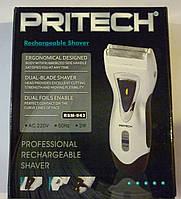 Бритвенный прибор pritech rsm-943, система двойных лезвий, встроенный аккумулятор, 40 минут работы без зарядки