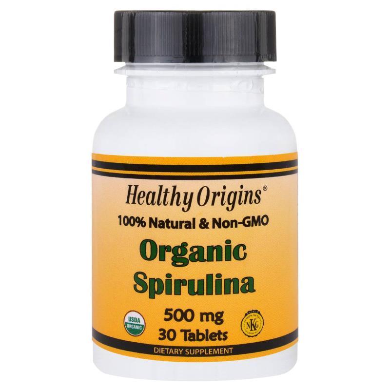 Органічна Спіруліна 500мг, Healthy Origins, 30 таблеток