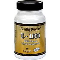 Витамин Е 1000IU, Healthy Origins, 60 желатиновых капсул