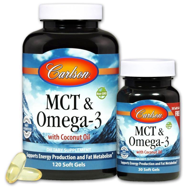 MCT & Омега-3, Carlson, 120+30 желатиновых капсул