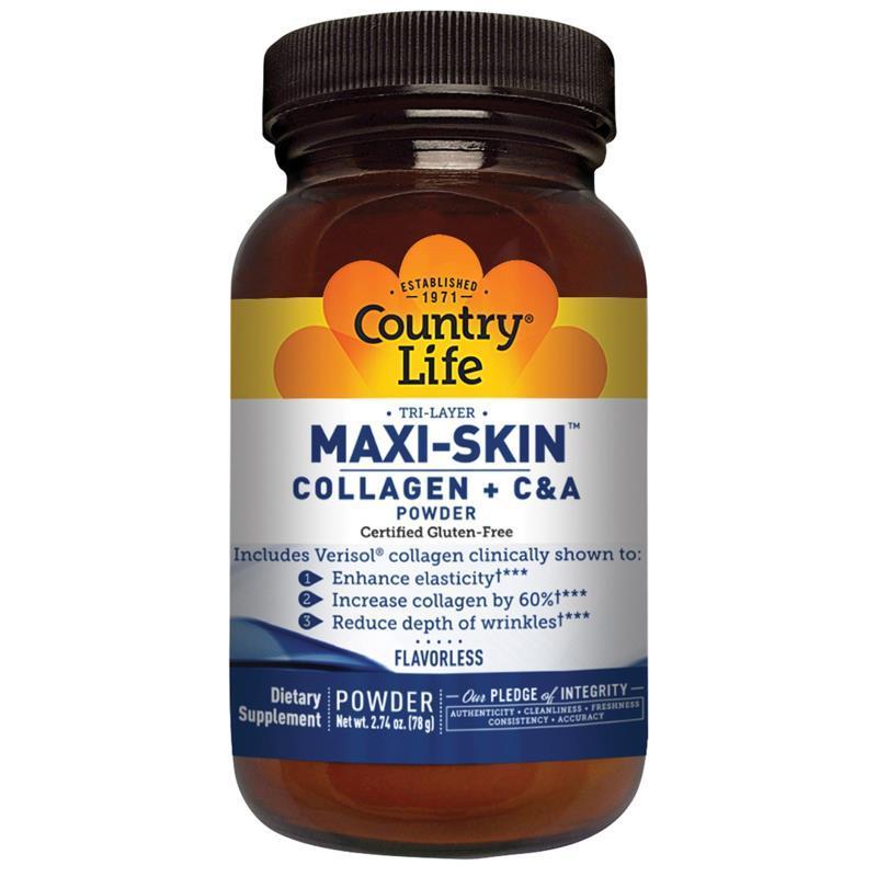 Колаген + Вітаміни С&А в Порошку, Maxi-Skin, Country Life, 2,74 уцнции (78 гр)