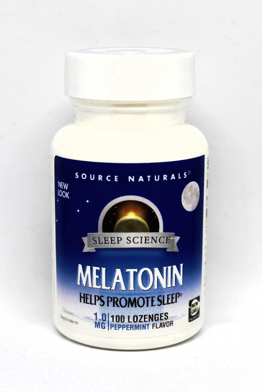Мелатонін 1мг, Смак М'яти, Sleep Science, Source Naturals, 100 таблеток для розсмоктування