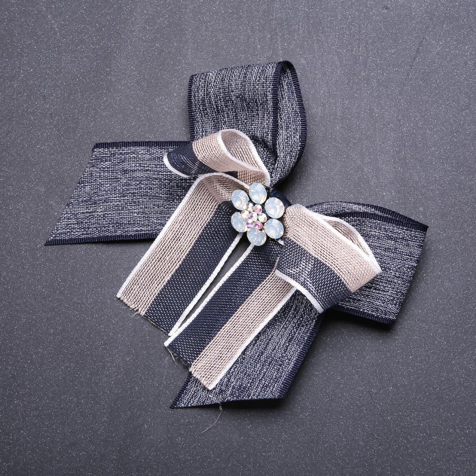 Брошь-галстук из лент под воротничок L-10см