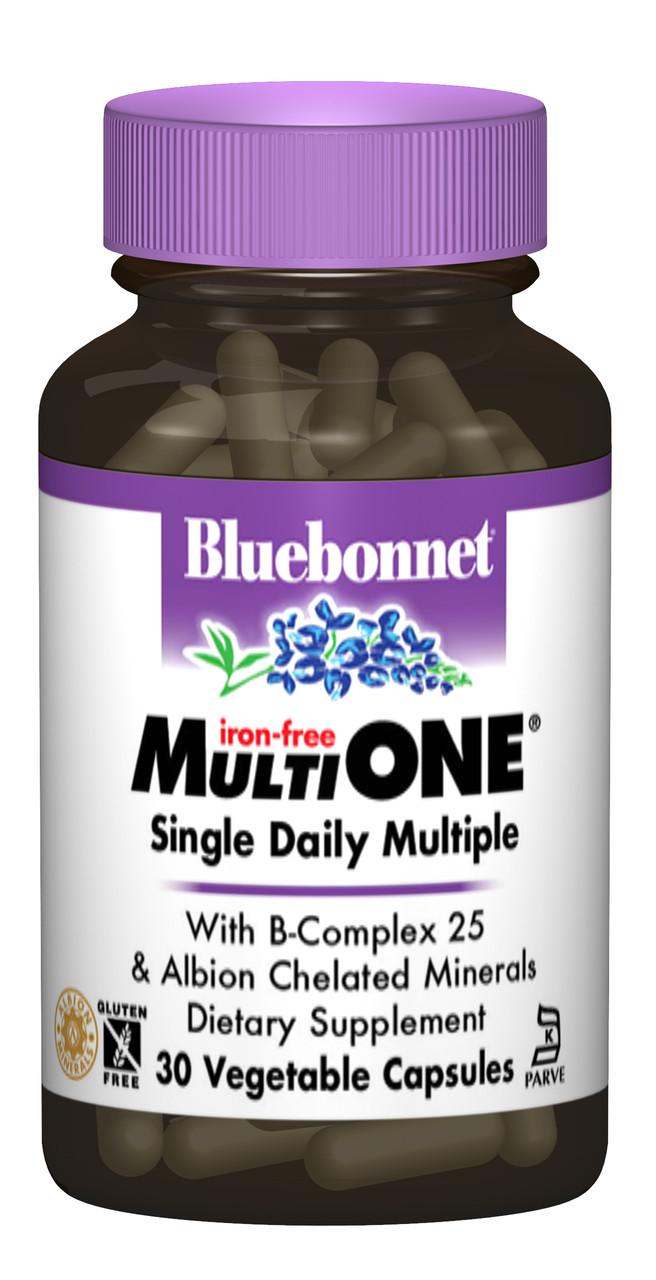 Мультивітаміни без заліза, MultiONE, Bluebonnet Nutrition, 30 гельових капсул