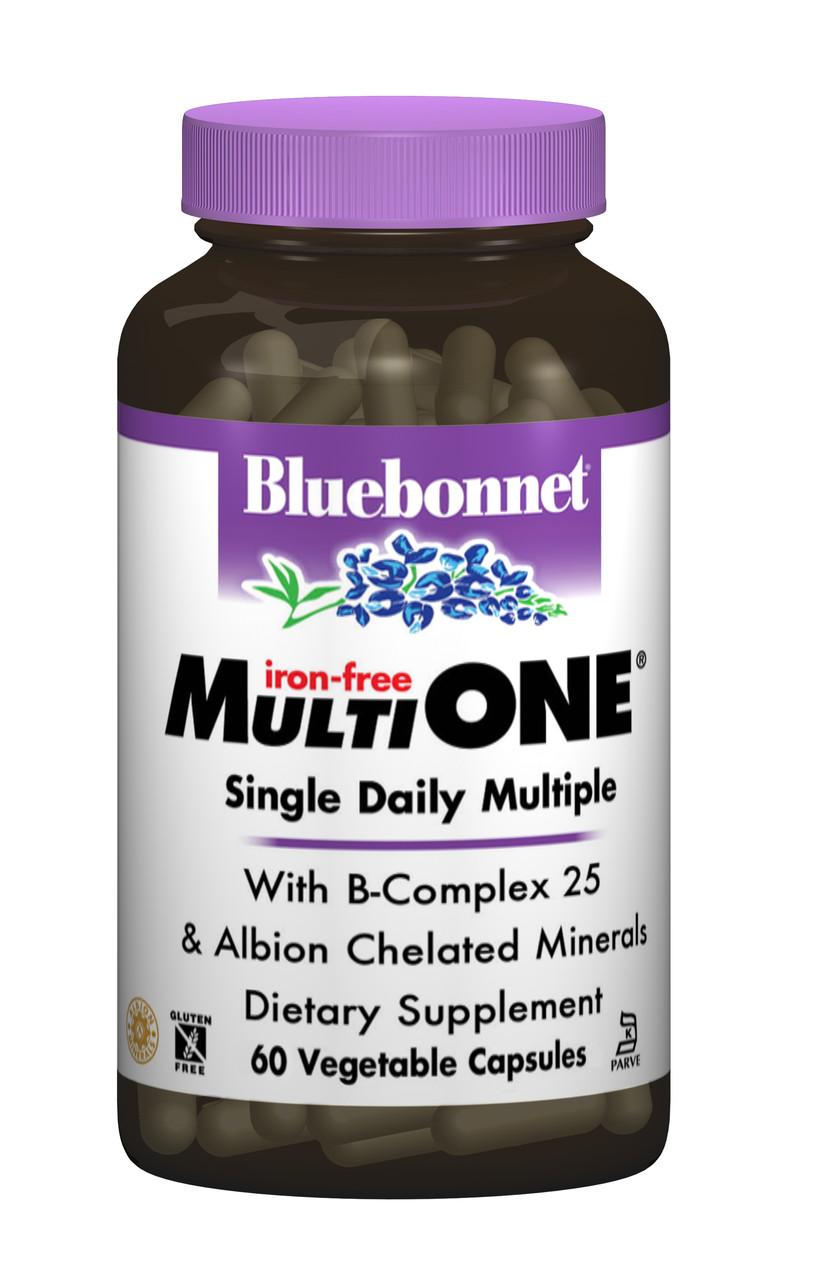Мультивітаміни без заліза, MultiONE, Bluebonnet Nutrition, 60 гельових капсул