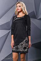 Нарядное чёрное платье 44 размер, эко-замш, с перфорацией