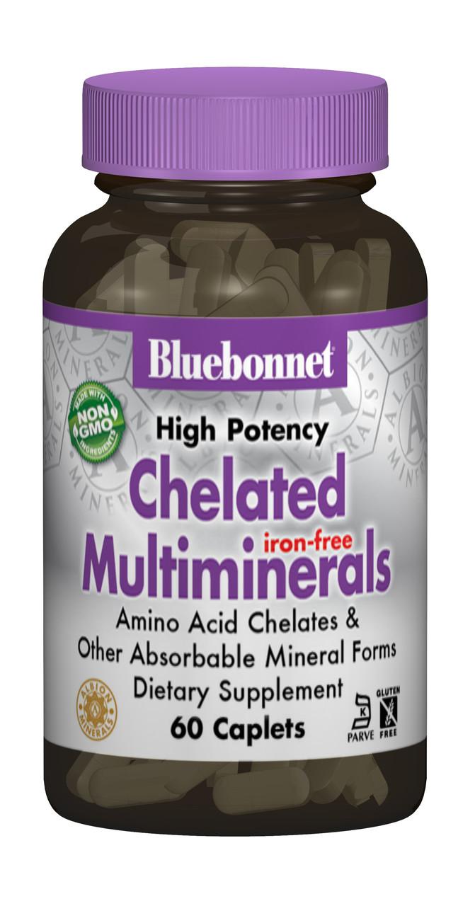 Хелатные Мультиминералы без Железа, Albion, Bluebonnet Nutrition, 60 капсул