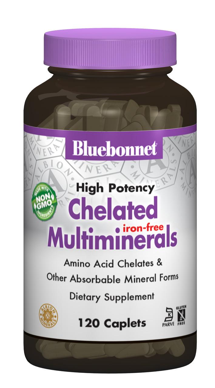 Взаимодействующие Минералы без Железа, Albion, Bluebonnet Nutrition, 120 капсул