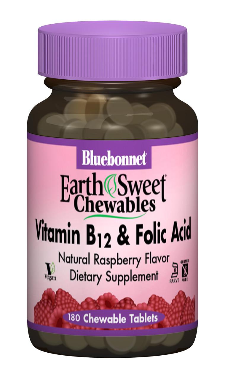 Вітамін В12 та Фолієва кислота, Малина, Earth Sweet Chewables, Bluebonnet Nutrition, 180 жев. таб.