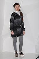 """Верх зима кардиган кофта """"меланж"""" крупной вязки , крупные пуговицы, накладные карманы с отворотами, воротник"""