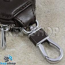 Ключница карманная (кожаная, темно - коричневая, с карабином, на молнии, с кольцом), логотип авто BMW (БМВ), фото 2