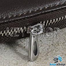 Ключница карманная (кожаная, темно - коричневая, с карабином, на молнии, с кольцом), логотип авто BMW (БМВ), фото 3