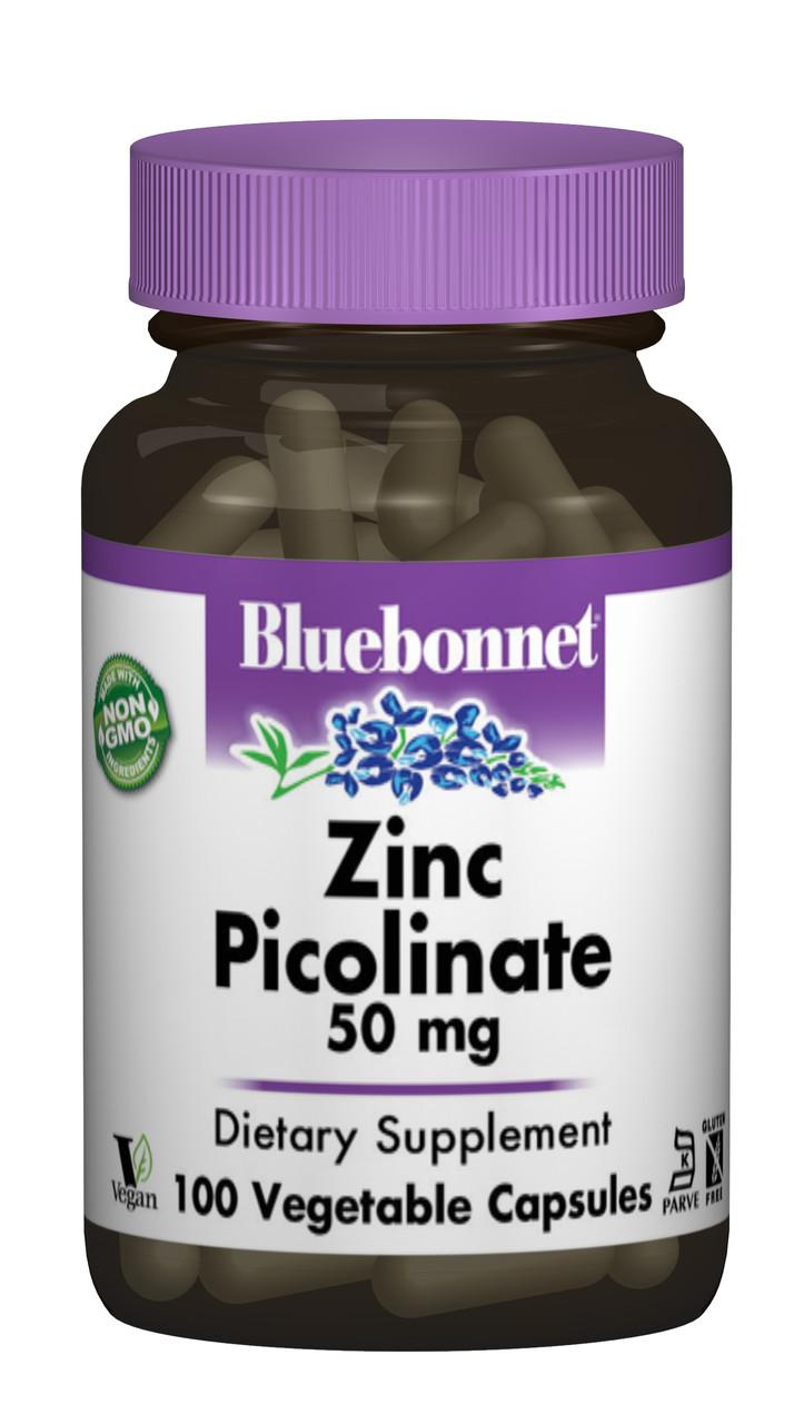 Цинк Пиколинат 50мг, Bluebonnet Nutrition, 100 гелевых капсул