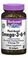 Омега 3-6-9 на Рослинній Основі 1000мг, Bluebonnet Nutrition, 90 желатинових капсул