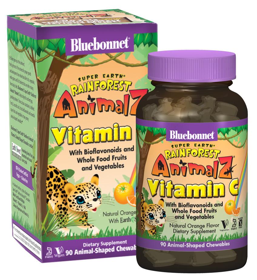 Витамин С для Детей, Вкус Апельсина, Rainforest Animalz, Bluebonnet Nutrition, 90 жевательных конфет