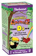 Витамин D3 400IU для Детей, Ягоды, Rainforest Animalz, Bluebonnet Nutrition, 90 жевательных конфет