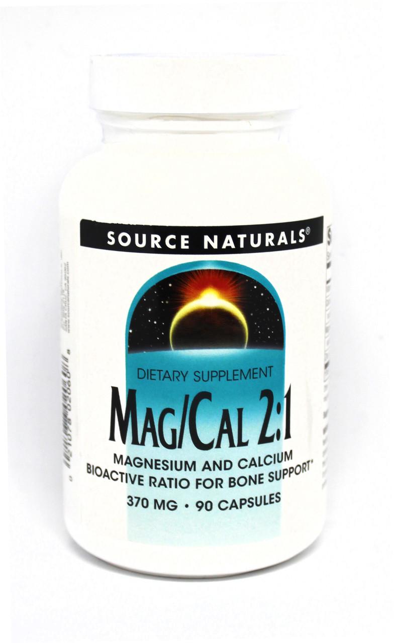 Магній Кальцій 2:1, 370 мг, Source Naturals, 90 капсул