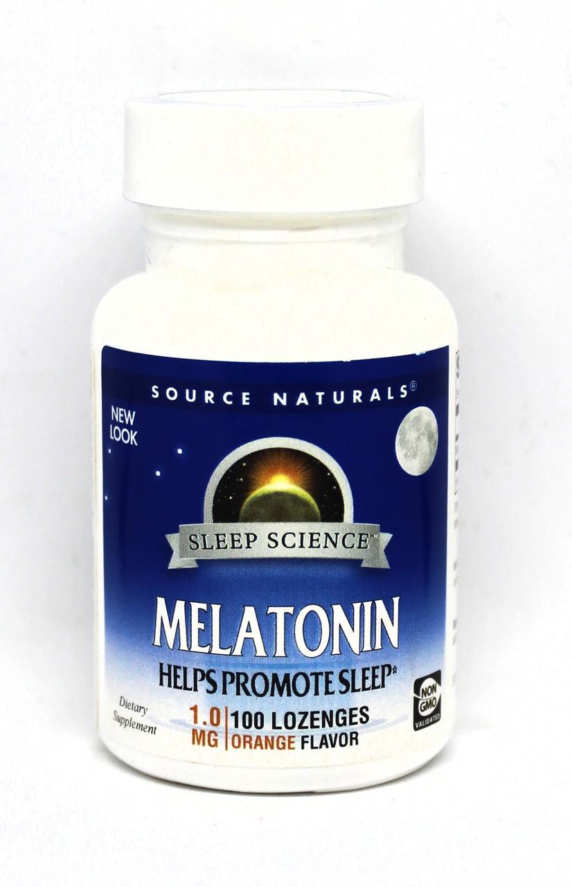 Мелатонин 1мг, Вкус Апельсина, Sleep Science, Source Naturals, 100 таблеток для рассасывания