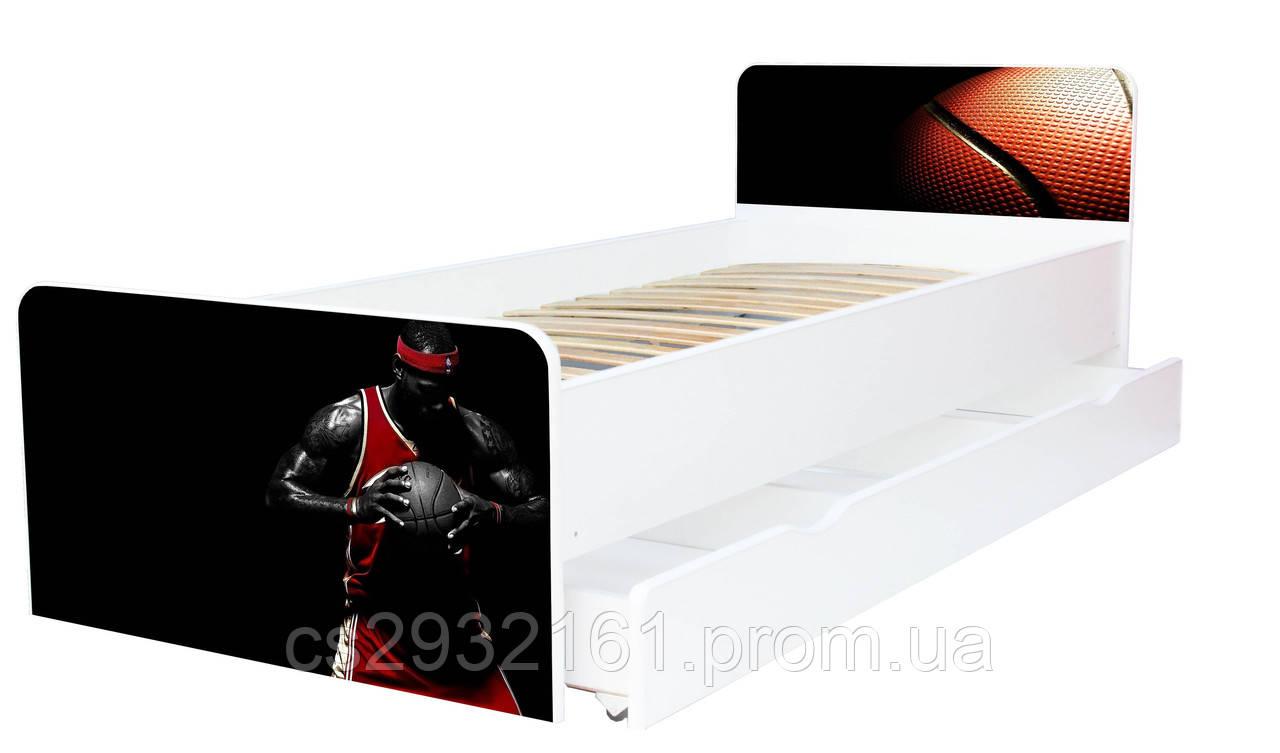 Кровать для подростка баскетбол серия Beverly, кровать односпальная 80*190, кровать на ламелях