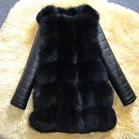 Меховая жилетка с рукавами чёрного цвета