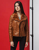 Стильная женская коричневая куртка демисезонная из экокожи (разм 42-44) fca047436c133
