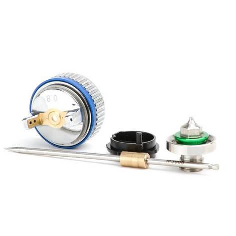 Комплект форсунки 0.8мм для краскопульта HVLP II mini PT-0128 (дюза, воздушная головка, игла) INTERTOOL, фото 2