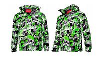 Мужская лыжная куртка черно-зеленая размер M