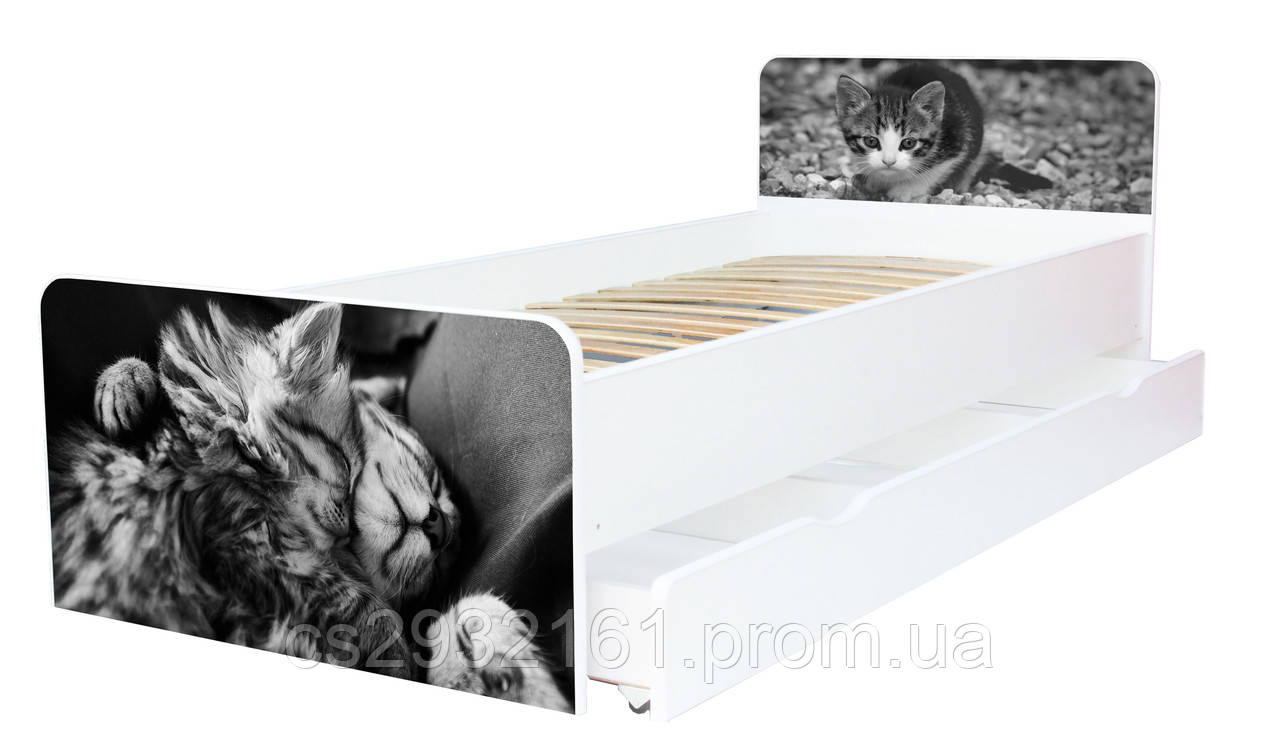 Кровать для подростка Котята серия Beverly, кровать односпальная 80*190, кровать на ламелях