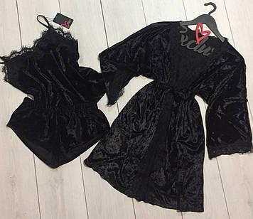Черный велюровый домашний комплект тройка ТМExclusive: халат+майка с шортами.