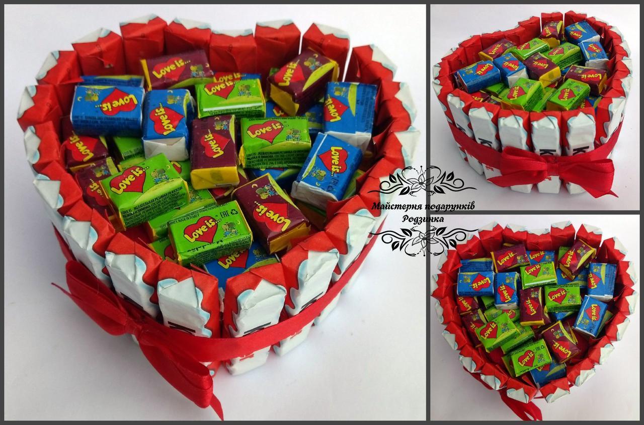 Подарунок на 14 лютого, день народження, 8 Березня торт серце MINI з LOVE IS.
