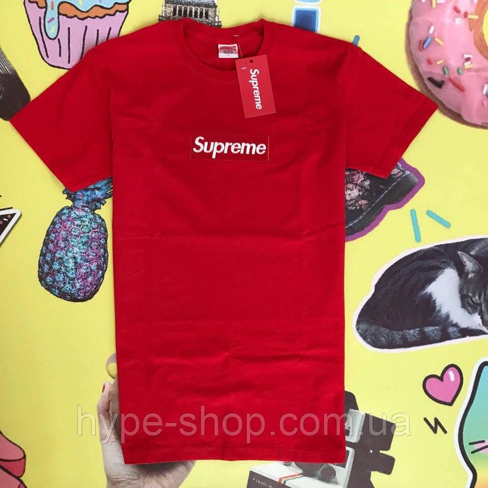 Мужская футболка в стиле Supreme   Лого вышито