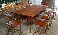 Кованный стол со стульями (10 шт.)