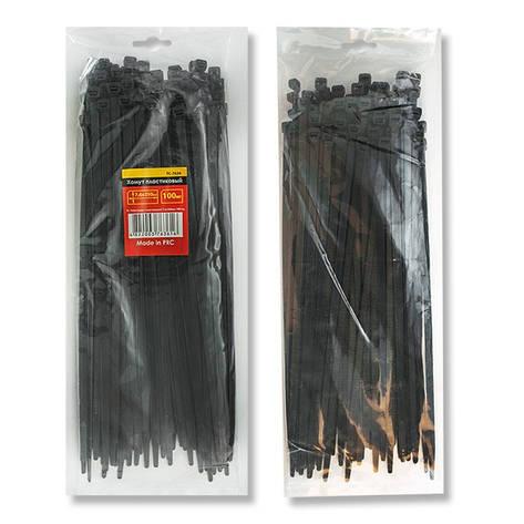 Хомут пластиковый черный (стяжка нейлоновая), 7.6x350 мм INTERTOOL TC-7636, фото 2