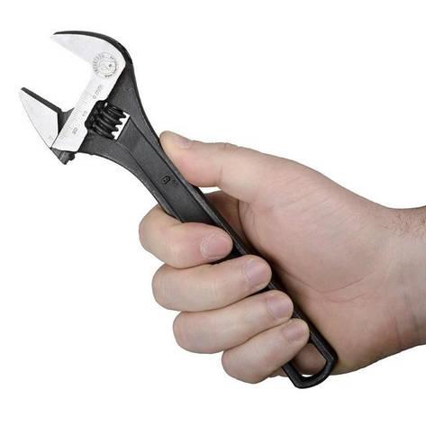 Ключ разводной 200мм, Cr-V, черный, фосфатированный, с полированной головкой INTERTOOL XT-0058, фото 2