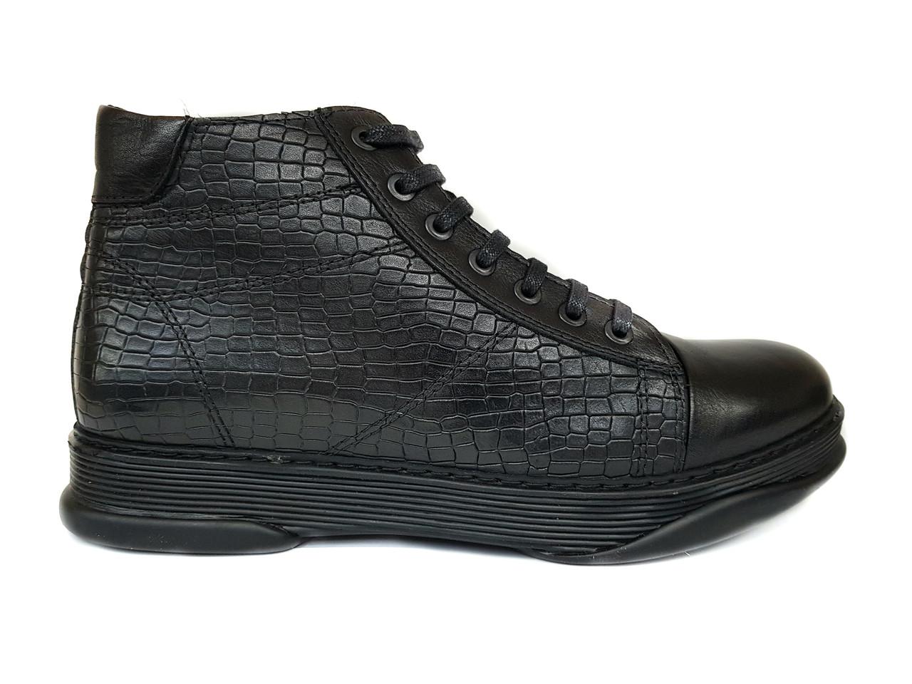 Зимние мужские кожаные ботинки Luciano Bellini черные, на цигейке B0001
