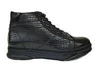 Зимние мужские кожаные ботинки Luciano Bellini черные, на цигейке B0001 42
