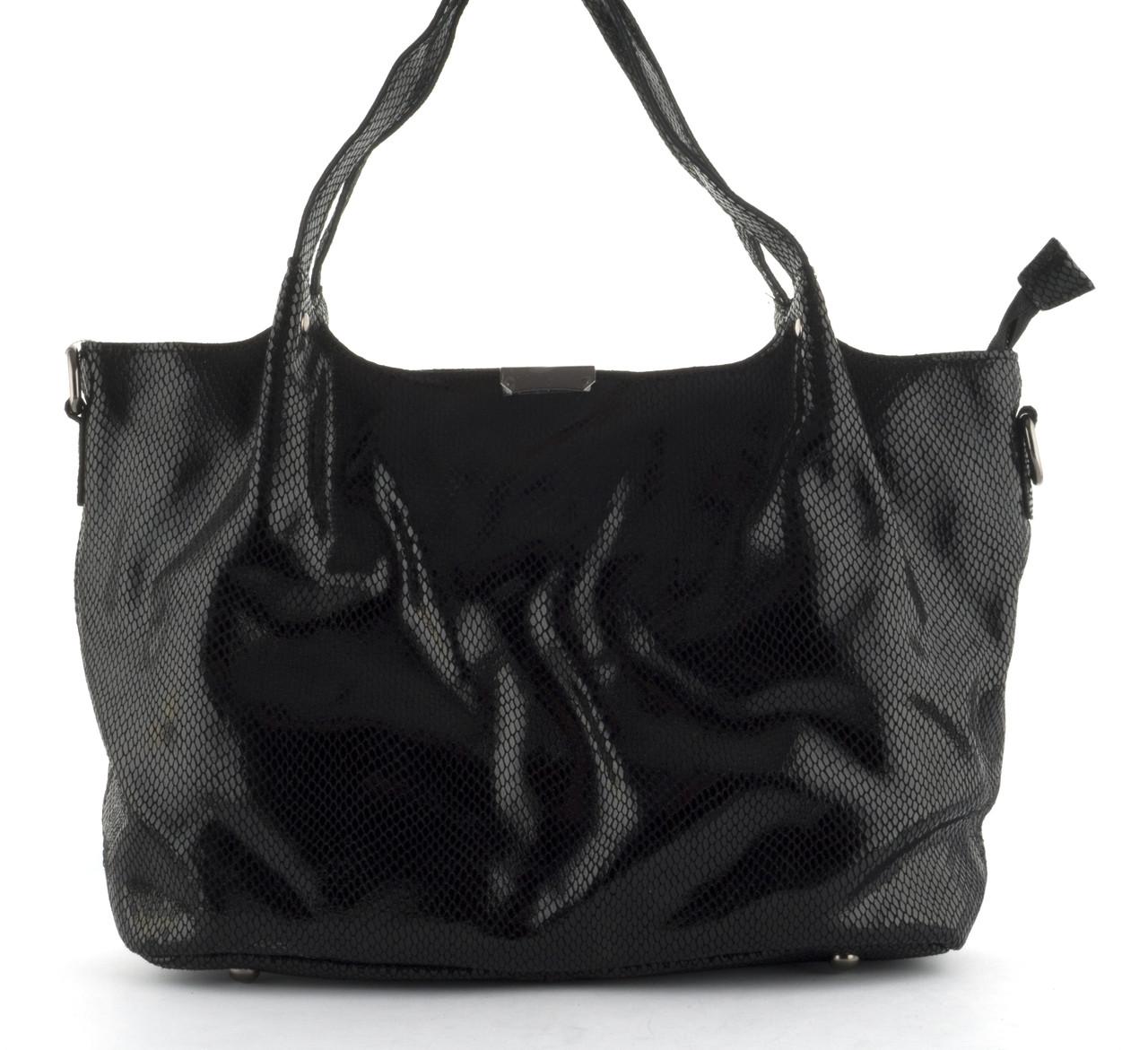 ab39e6a7d9b1 Стильная женская мягкая сумка из натуральной кожи с лазерной обработкой  PRINCESSA art. 8813 черная