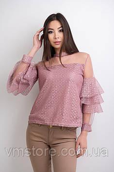 Блузка гипюровая с воланами