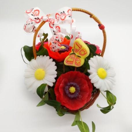 Мыльный букет, подарочная корзина, цветочная корзина