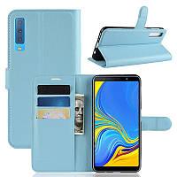 Чехол для Samsung A750 / A7 2018 книжка PU-Кожа голубой
