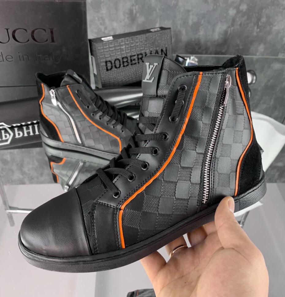Кроссовки мужские Louis Vuitton D5074 черные утепленные