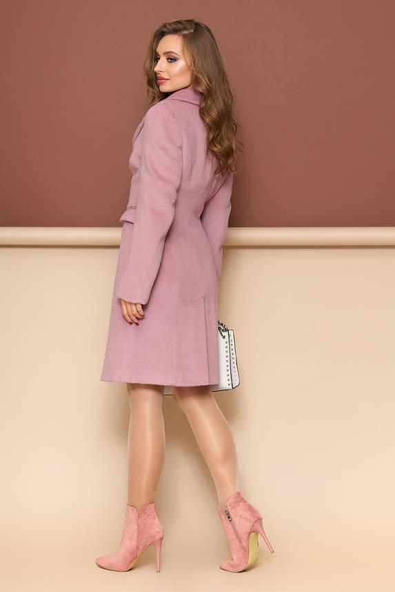 Классическое демисезонное шерстяное пальто розовое, фото 2